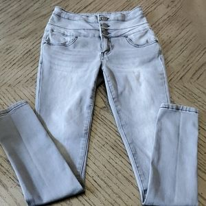 Gray high rise stretch skinny jeans, size 1.